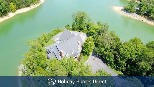 Aerial shot of the Lake House & lake