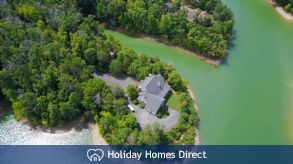 Aerial shot of the the Lake House & land