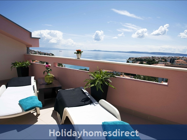 Penthouse Christina - 4 Star Holiday Homes Overlooking The Sea On Ciovo, Amazing Panoramic Views Of The Adriatic Sea: Terrace Penthouse Christina - 2 bedrooms sleeps 6