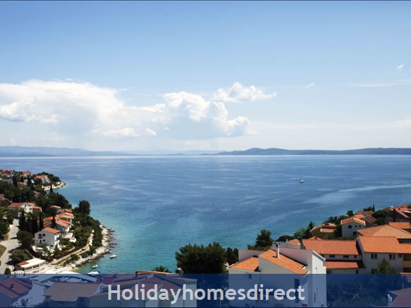 Penthouse Christina - 4 Star Holiday Homes Overlooking The Sea On Ciovo, Amazing Panoramic Views Of The Adriatic Sea: View from Penthouse Christina