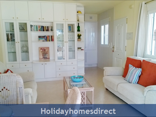 Stunning Sea-views Luxury Apartment.  Spanish Tourism Registered.  Free Wifi.  5 Minutes  Walk  Playa And Beaches, Uk Tv.: living room with french doors to huge terrace