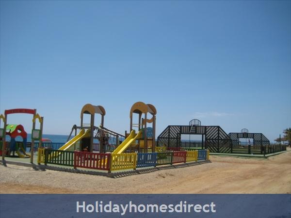 Playgrounds and mini football along playa