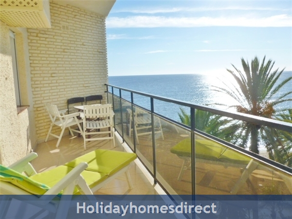 Marbella - Luxurious Front Row Skol Private Apartment, With Stunning Sea-views From 2 Huge Terraces.  Registered With Spanish Tourism:  second terrace off the Bedroom  sea and pool view