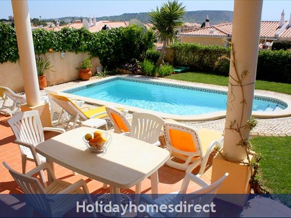 Villa Miranda. Praia Da Luz .. 2 Bedrooms, Full Air-con, Private Pool, Fantastic Sea Views !: Who's for lunch beside the pool?