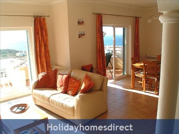 Villa Miranda. Praia Da Luz .. 2 Bedrooms, Full Air-con, Private Pool, Fantastic Sea Views !: Delightful living area with sea views to die for!
