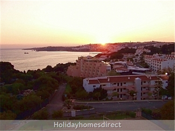 Vasco Da Gama, Beachfront Property On The Main Beach In Albufeira: Sunset from balcony (looking west)