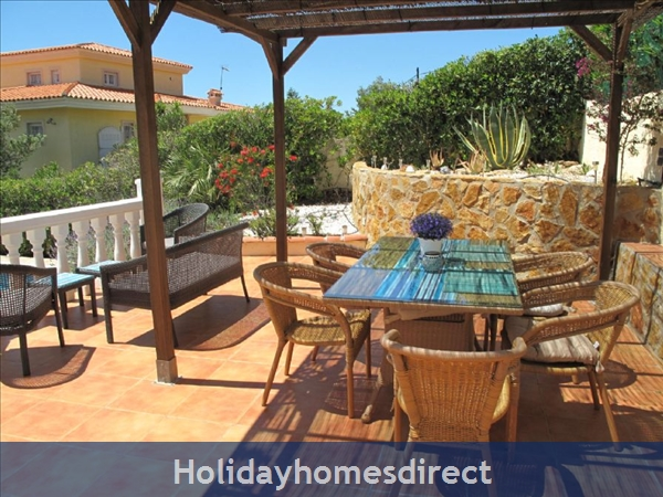 Villa Santos, 2 Bed, Air Con, Sat Tv Wifi, Heated Pool, Outstanding Bbq Terrace Fantastic Seaviews Quiet Location, 15minutes Walk To Shops And Beaches: BBQ Terrace looking west