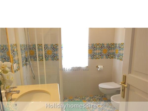 Bathroom with shower at villa in Amalfi coastline