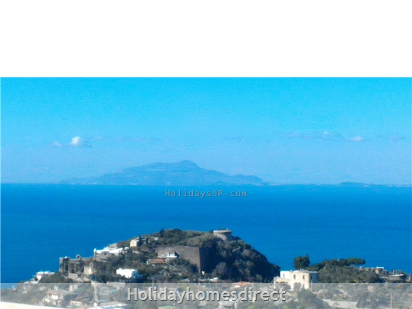 Gulf of Naples bay view from roof terrace